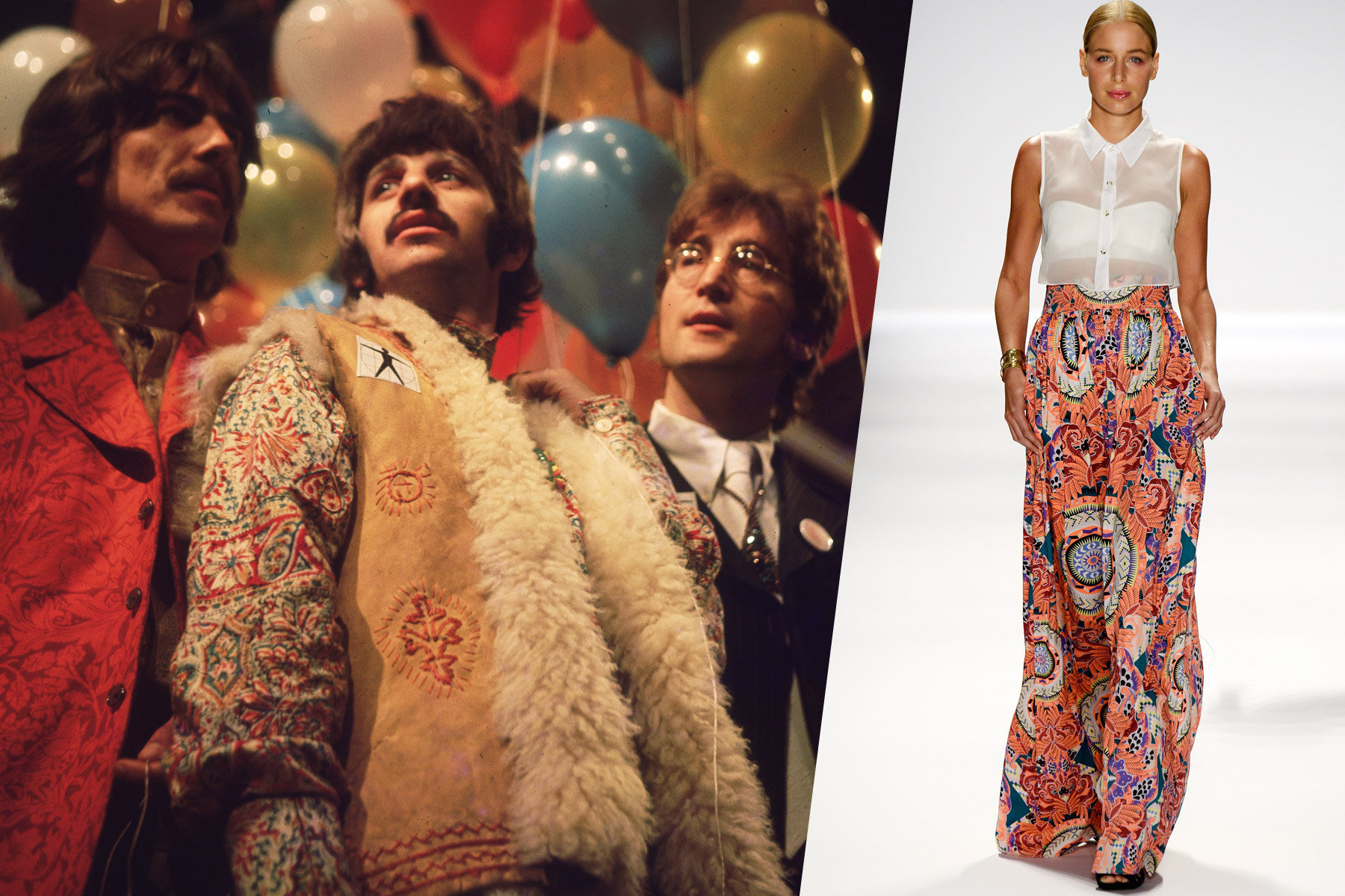 The Beatles ready for the 1968 world tour with a paisley clad model from Mara Hoffman