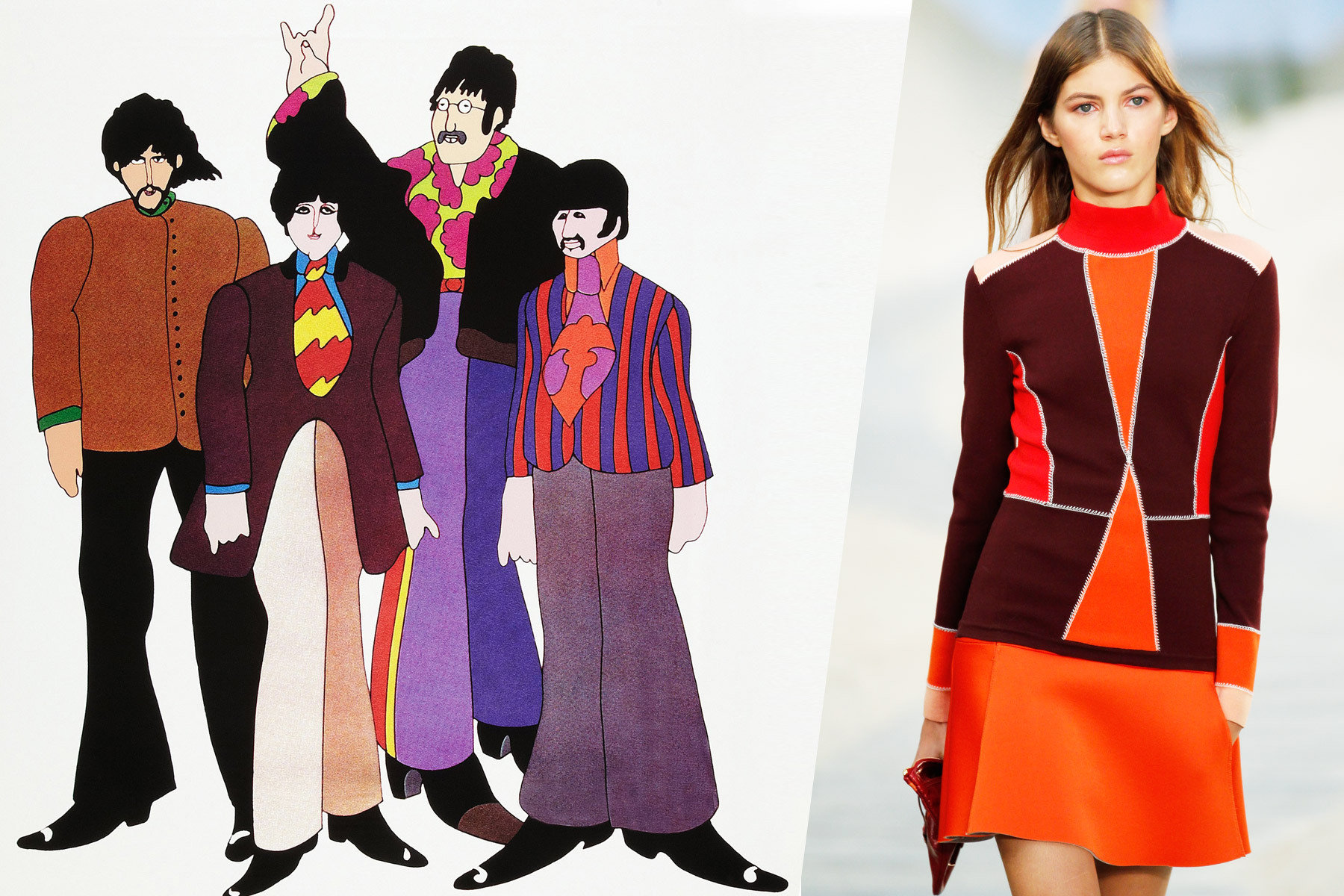 The Beatles from Yellow Submarine with a model on the Tommy Hilfiger Spring 2014 runway