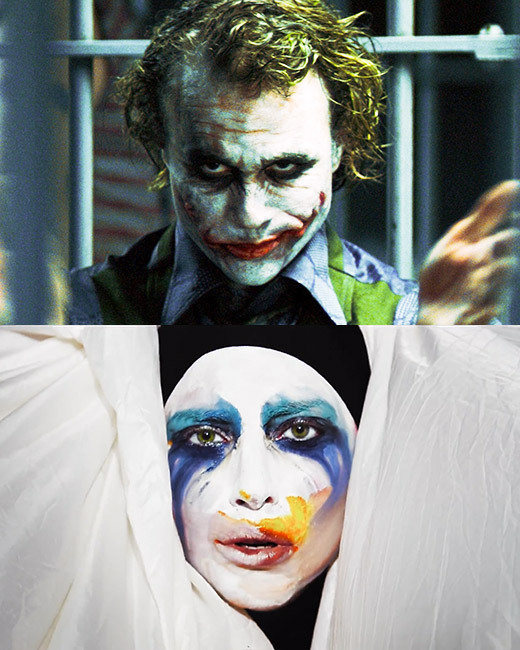 Lady Gaga, Applause, Heath Ledger, The Dark Knight, Joker