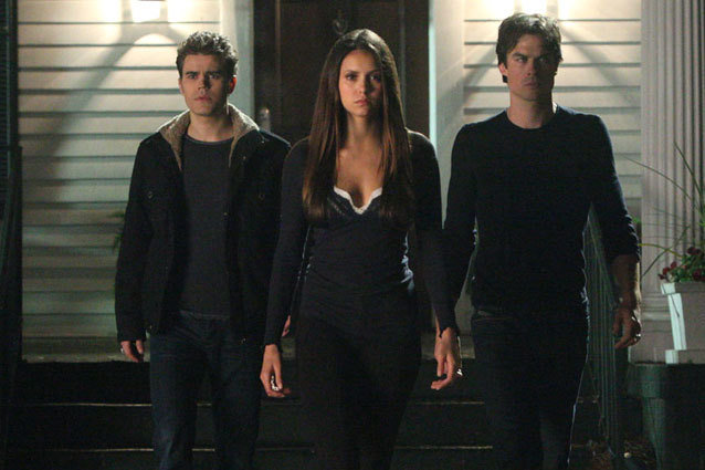 Stefan, Elena, and Damon on The Vampire Diaries episode Down the Rabbit Hole