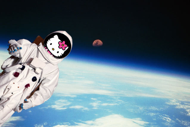 Hello Kitty rocket outer space