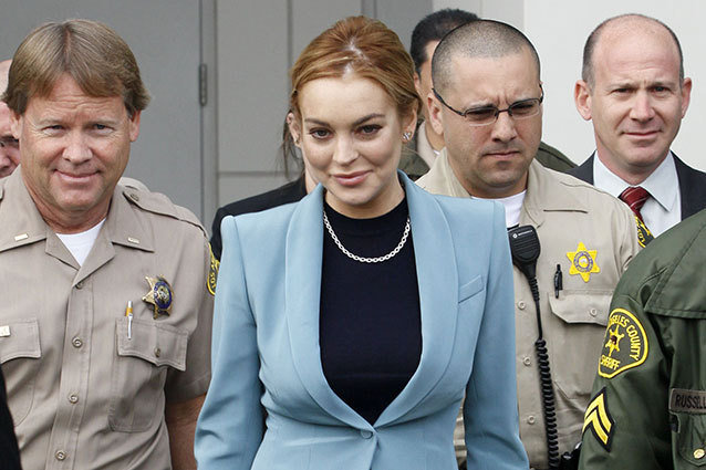 Lindsay Lohan with some cops