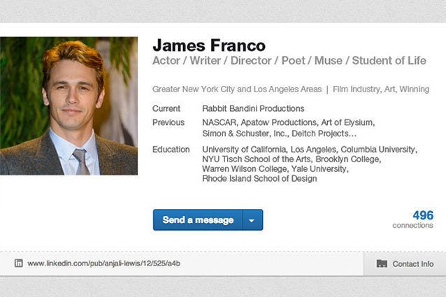 James Franco LinkedIn Profile