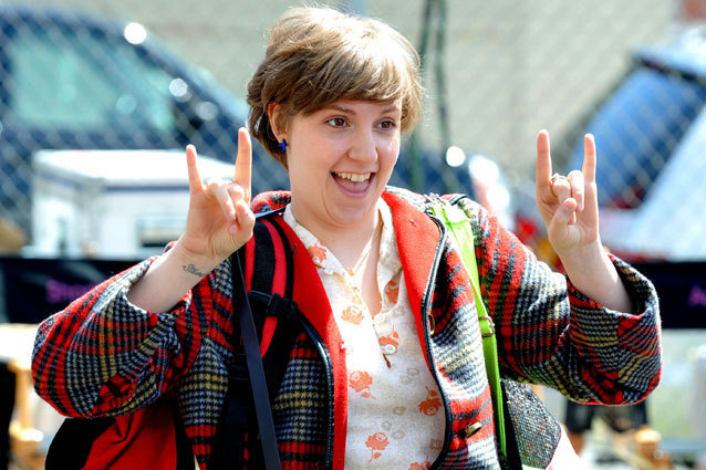 Lena Dunham filming on location for Girls