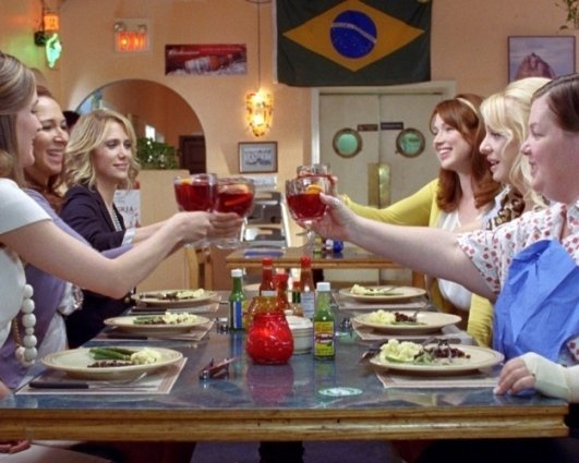 Melissa McCarthy, Ellie Kemper, Rose Byrne, Wendi McLendon-Covey, Maya Rudolph, and Kristen Wiig in Universal Pictures' 'Bridesmaids'