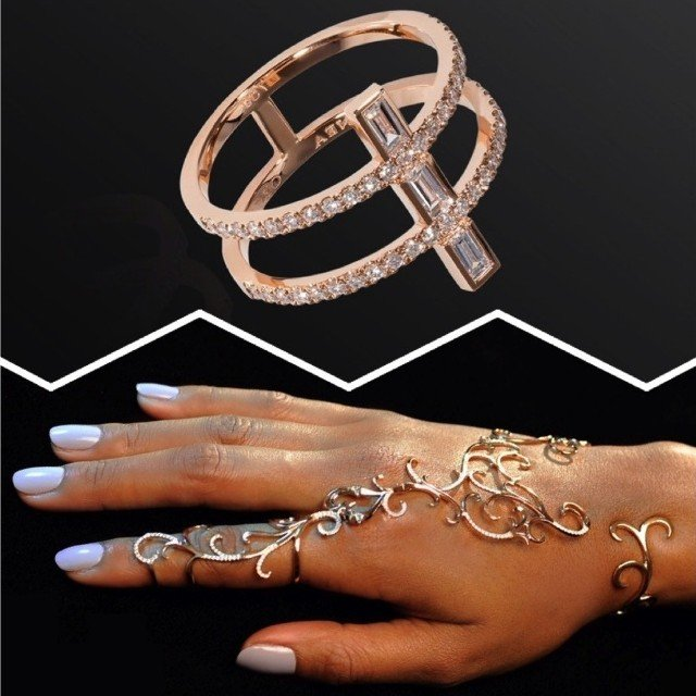 Dionea Orcini Linee Misteriose Diamond Mini Ring and Forbidden Hand Bracelet