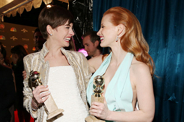 Jessica Chastain and Anne Hathaway win Golden Globes