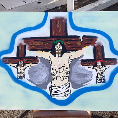 chris brown jesus painting