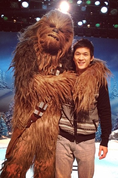 Mike Chang and Chewbacca