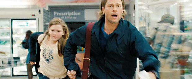 World War Z Super Bowl Ad Show Brad Pitt Running Away from Zombies