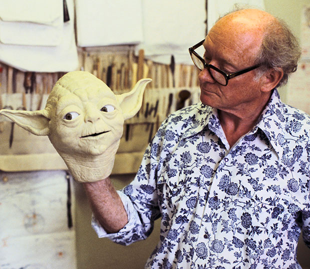 Star Wars Creature Effects Artist Stuart Freeborn With his Most Famous Creation, Yoda